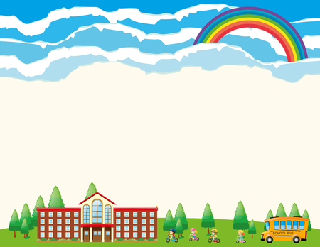 Paper template with school at daytime illustration Illustration