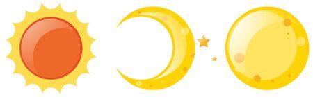 Sun and moon on white background illustration Illustration