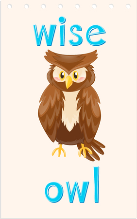 Wordcard with wise owl illustration Illustration
