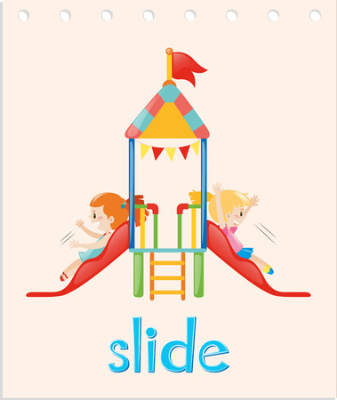 verb: Word card with girls on the slide illustration