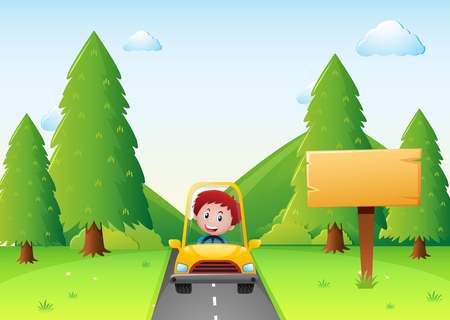 yellow car: Boy driving yellow car on the road illustration Illustration