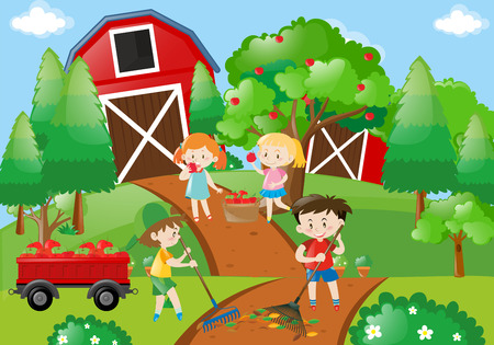Children picking apples in the orchard illustration
