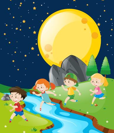 Children running in the park at night illustration