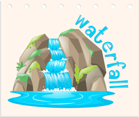 river rock: Word card with waterfall scene illustration