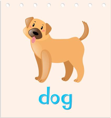 Wordcard with little dog illustration Illustration