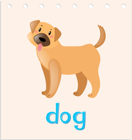 little dog: Wordcard with little dog illustration Illustration