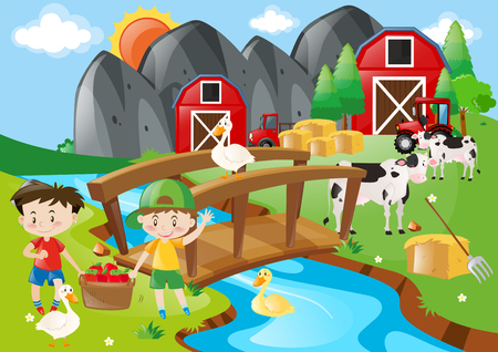 Boys and animals in the farmyard illustration