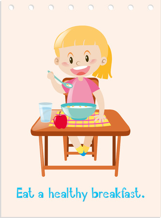 Wordcard with girl eating healthy breakfast illustration