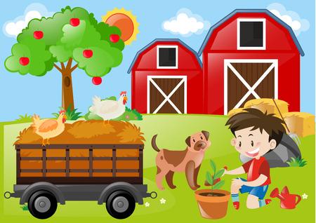 planting tree: Boy planting tree in the farm illustration