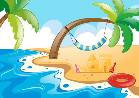 sandcastle: Nature scene with sandcastle on the beach illustration