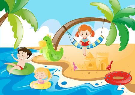 Three kids having fun at the beach illustration