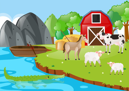 Farm scene with animals by the river illustration