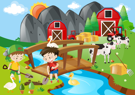 Boys digging hole in the farm illustration Illustration