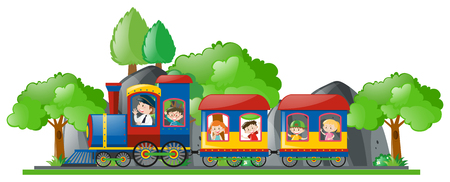 bogie: Children riding on train illustration