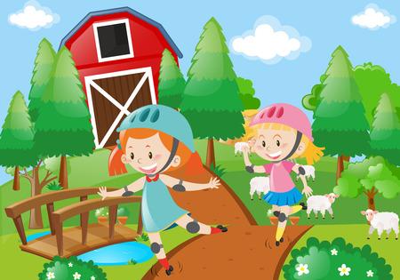 Two girl rollerskate in the farmyard illustration