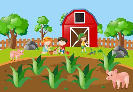 Kids planting tree in the farmyard illustration