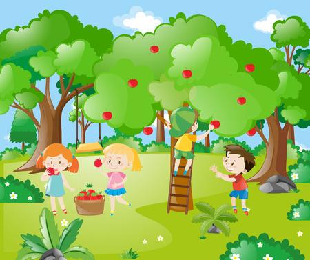 Farm scene with kids picking apples illustration