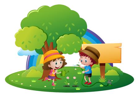 Dos niños regar las flores en la ilustración de jardín