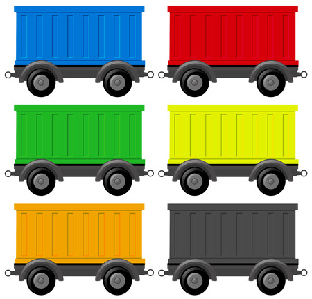 Six wagon carts in different colors illustration