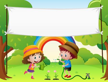 regando plantas: Modelo de la bandera con los niños regar las plantas de la ilustración Vectores
