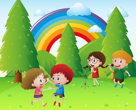 Kinderen zingen en dansen in park illustratie