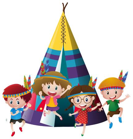 Four kids playing indian around teepee illustration Illustration