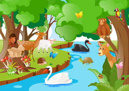 Forest scene with many types of animals illustration
