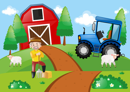 Farm scene with farmer in the field illustration