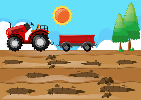 Farm scene with tractor in the field illustration Illustration