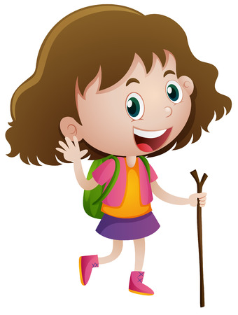 wooden stick: Little girl with wooden stick and backpack illustration