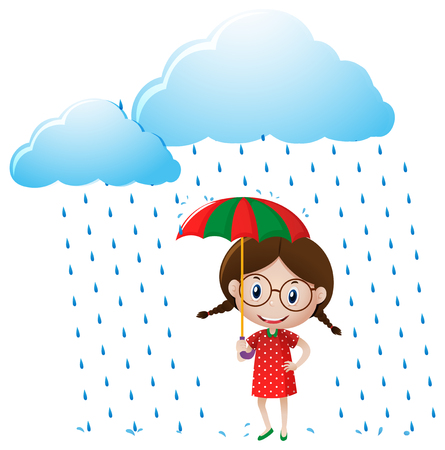 red shirt: Little girl in red shirt standing in the rain illustration