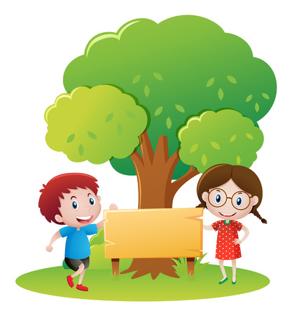blank banner: Boy and girl by the wooden sign in garden illustration Illustration