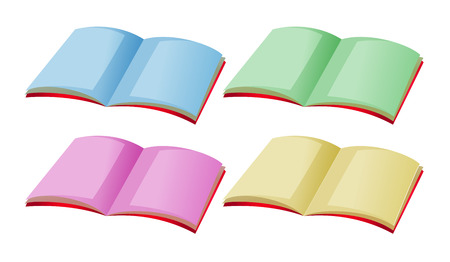 storybook: Four books with different color pages illustration Illustration