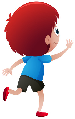 Back of little boy with red hair illustration