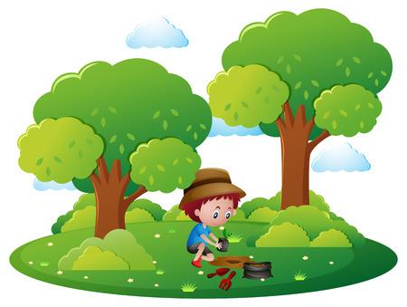 planting tree: Boy planting tree in park illustration Illustration