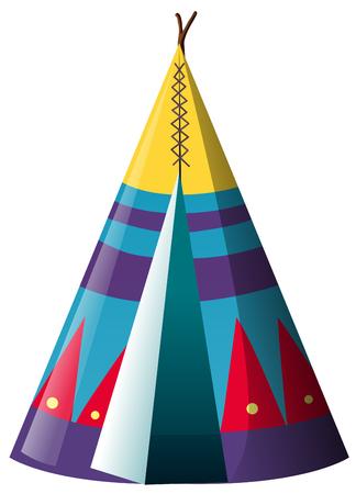 Traditional teepee shelter on white background illustration Illustration