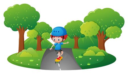 skateboard park: Boy skateboarding in the park illustration