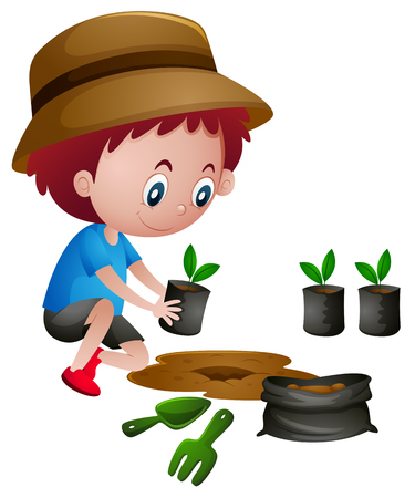 Boy planting trees in the ground illustration