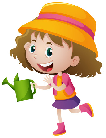 watering can: Girl holding green watering can illustration Illustration