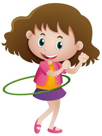 hulahoop: Little girl playing hulahoop alone illustration