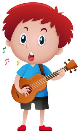 Boy singing while playing guitar illustration