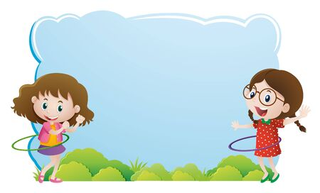 hulahoop: Border template with girls playing hulahoop illustration Illustration