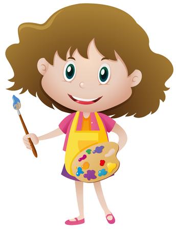 Girl holding paintbrush and palette illustration Illustration
