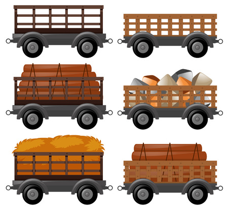 Different types of wagons illustration