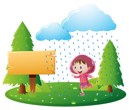bulletin: Wooden sign template with girl in rain illustration