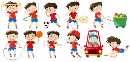 hulahoop: Boy doing different activities illustration