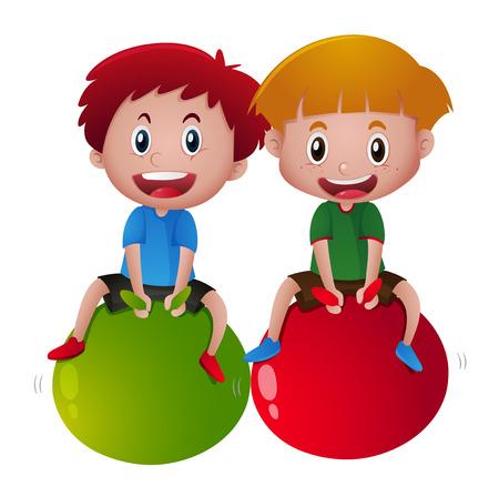 Two happy boys on big balls illustration