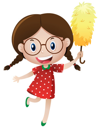 Little girl with duster illustration