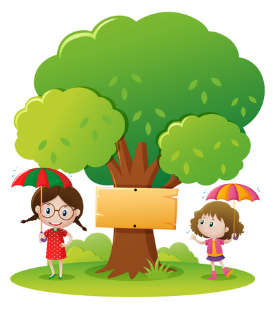 Two girls with umbrella in the park illustration Illustration