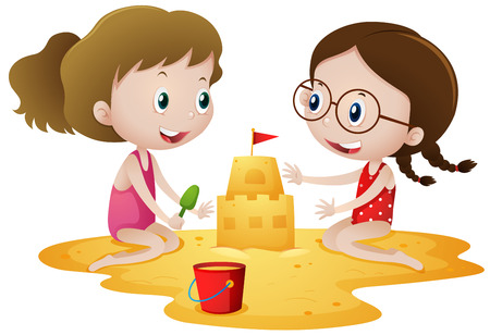sandcastle: Two girls playing sandcastle on beach illustration